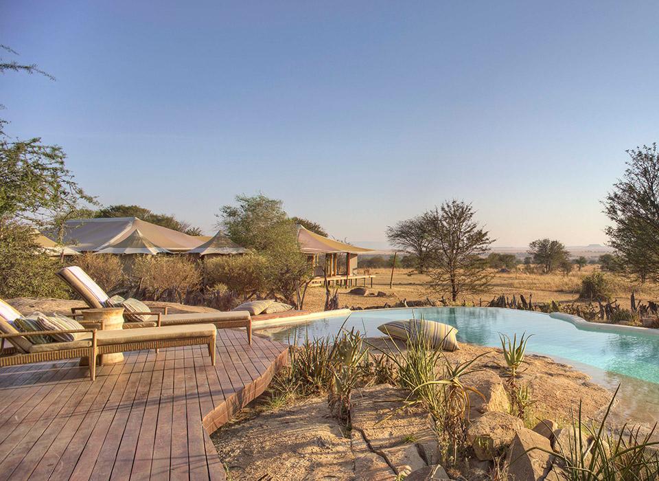 Sayari Camp swimming pool, permanent camp in the Northern Serengeti