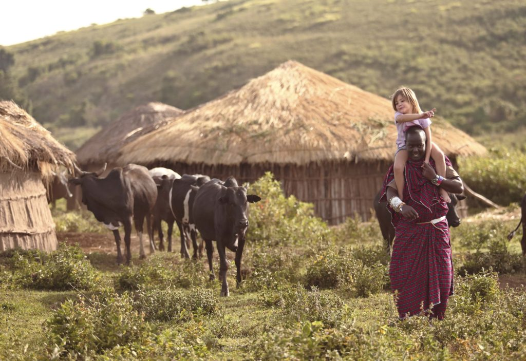 A young girl on the shoulders of a Maasai herdsman, herding cattle