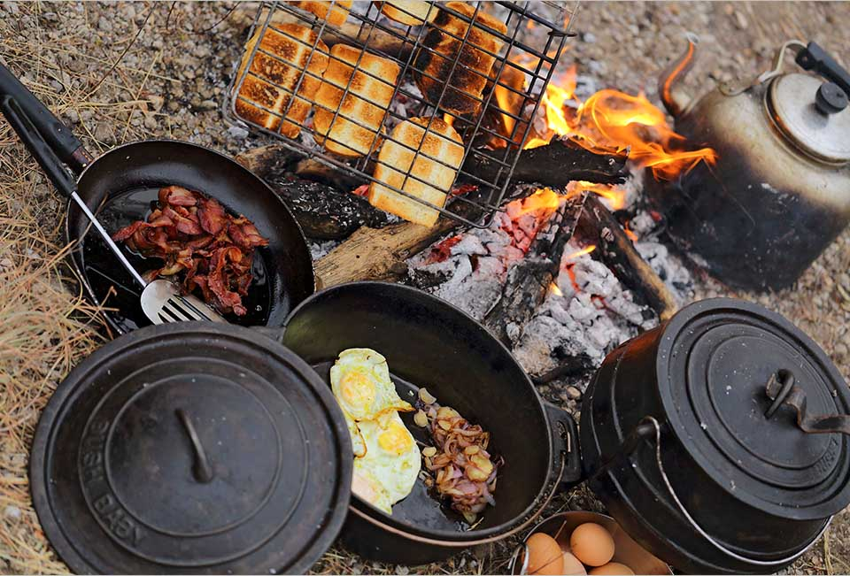 The most delicious meals cooked on an open fire.