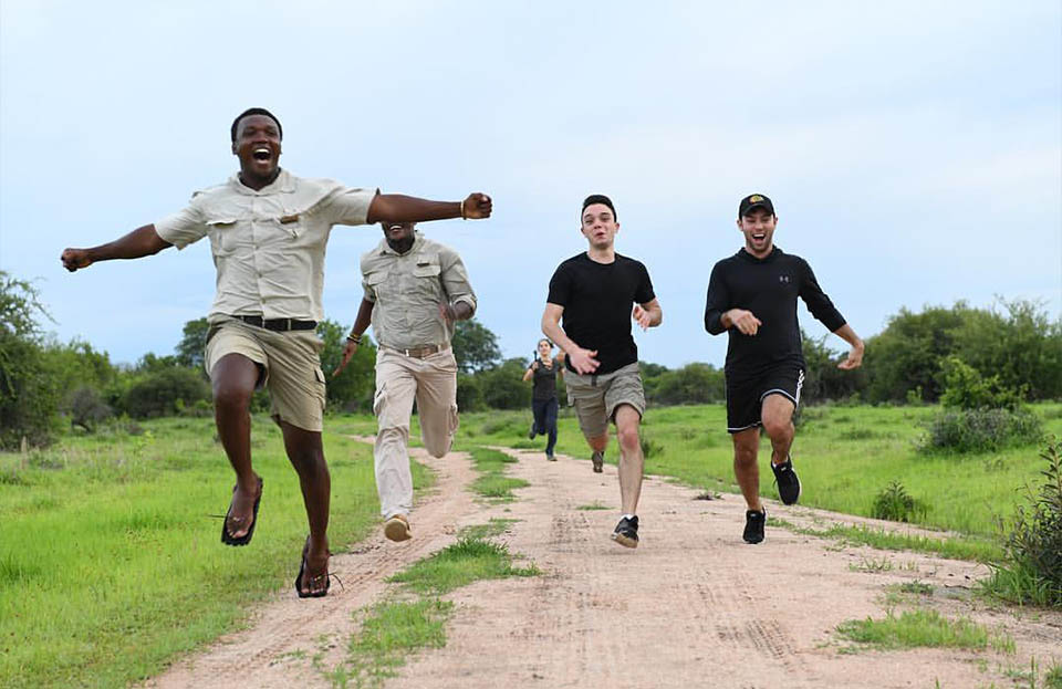 Stevie, a guide at Jabali Ridge, winning in a race between himself and some guests.