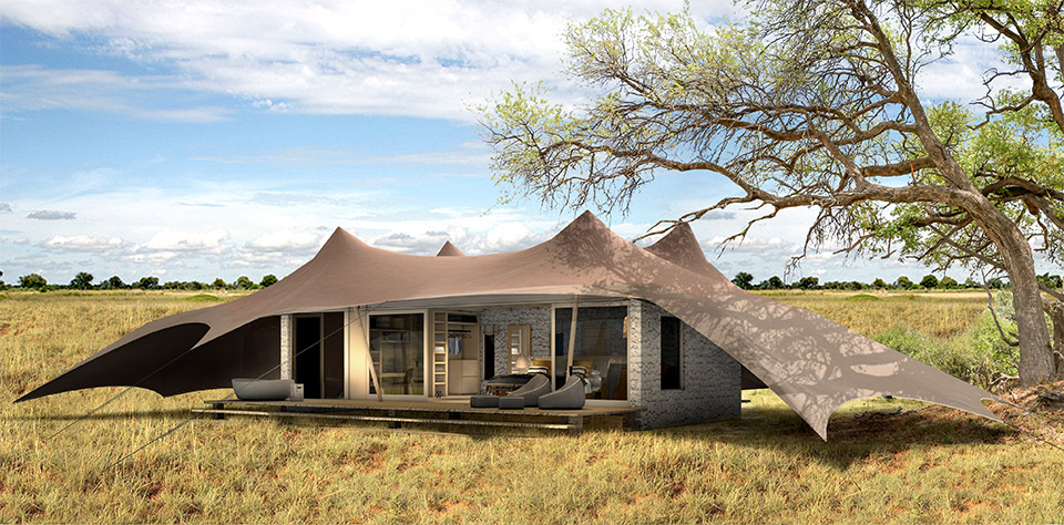 Guest tents at Namiri Plains are spacious and offer views of the Serengeti.