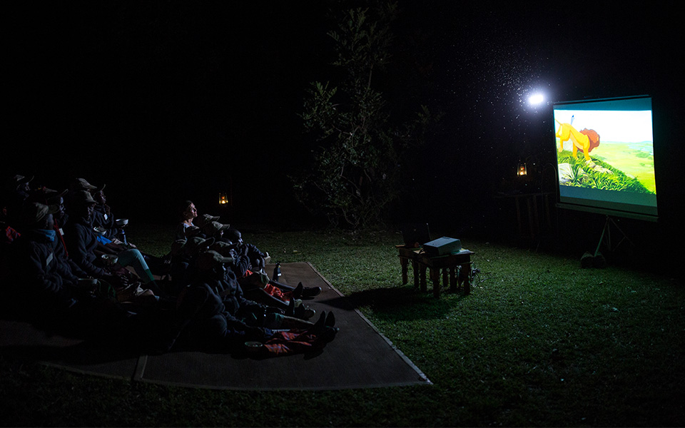 The movie night set up at Rekero Camp.