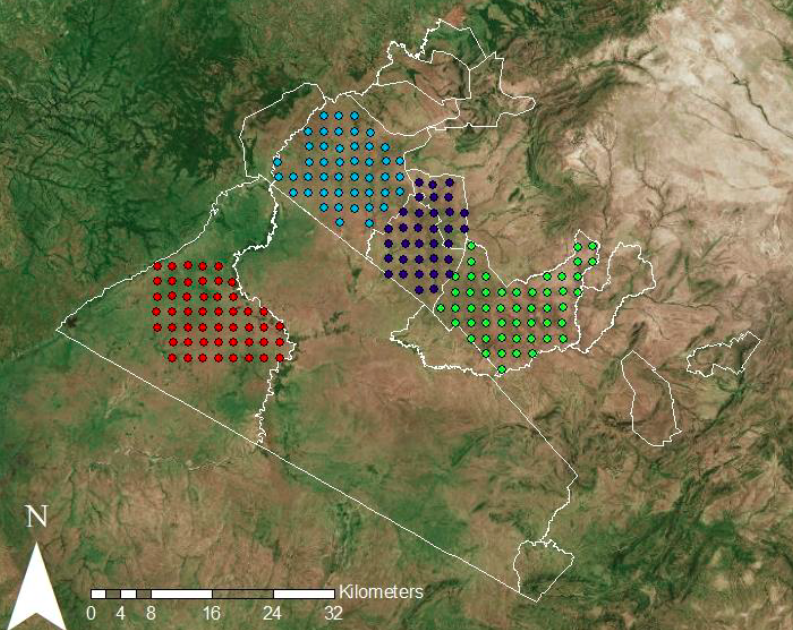 Map of the locations of our camera traps in the four study areas. Provided by UCL.