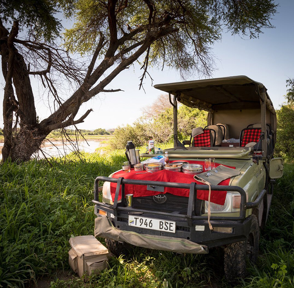 Enjoy a delicious bush lunch on the bonnet of your game drive vehicle. Photo credits: Fabian Fridholm