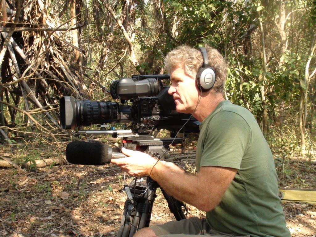 Bob poole in action filming in the Mara Naboisho Conservancy.