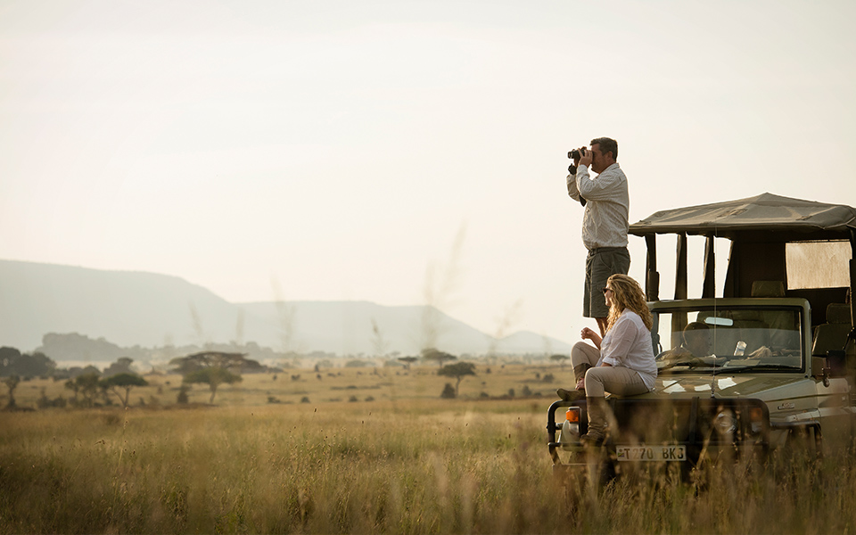 Searching the plains close to Dunia Camp for wildlife. BBC One -Serengeti Series