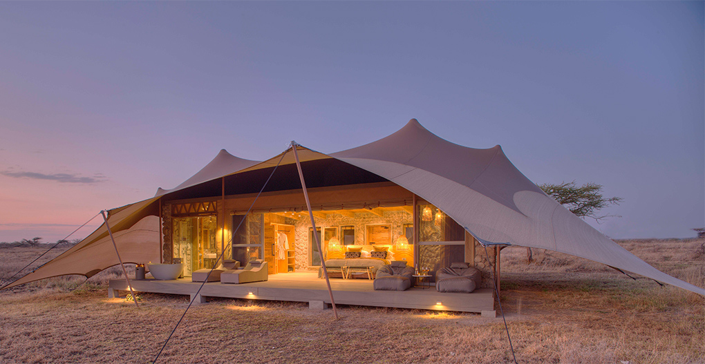 Namiri Plains - Tent exterior at dawn